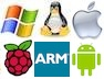 Windows, Linux, Apple, Android, Raspberry Pi